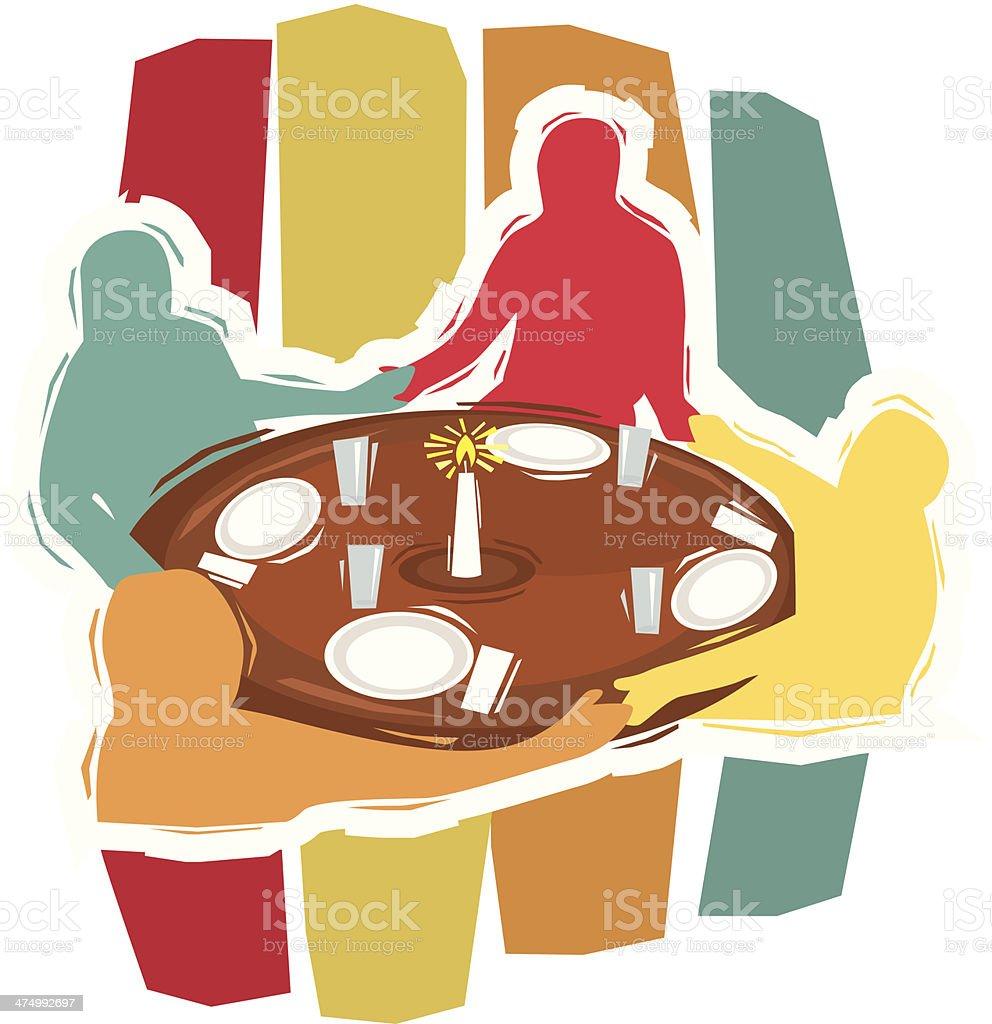 People Praying Table C vector art illustration