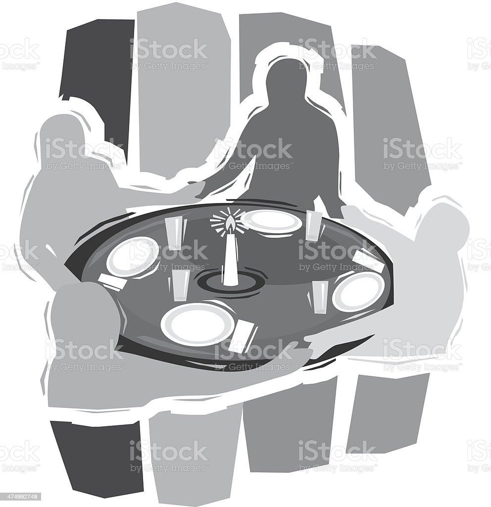People Praying Table vector art illustration