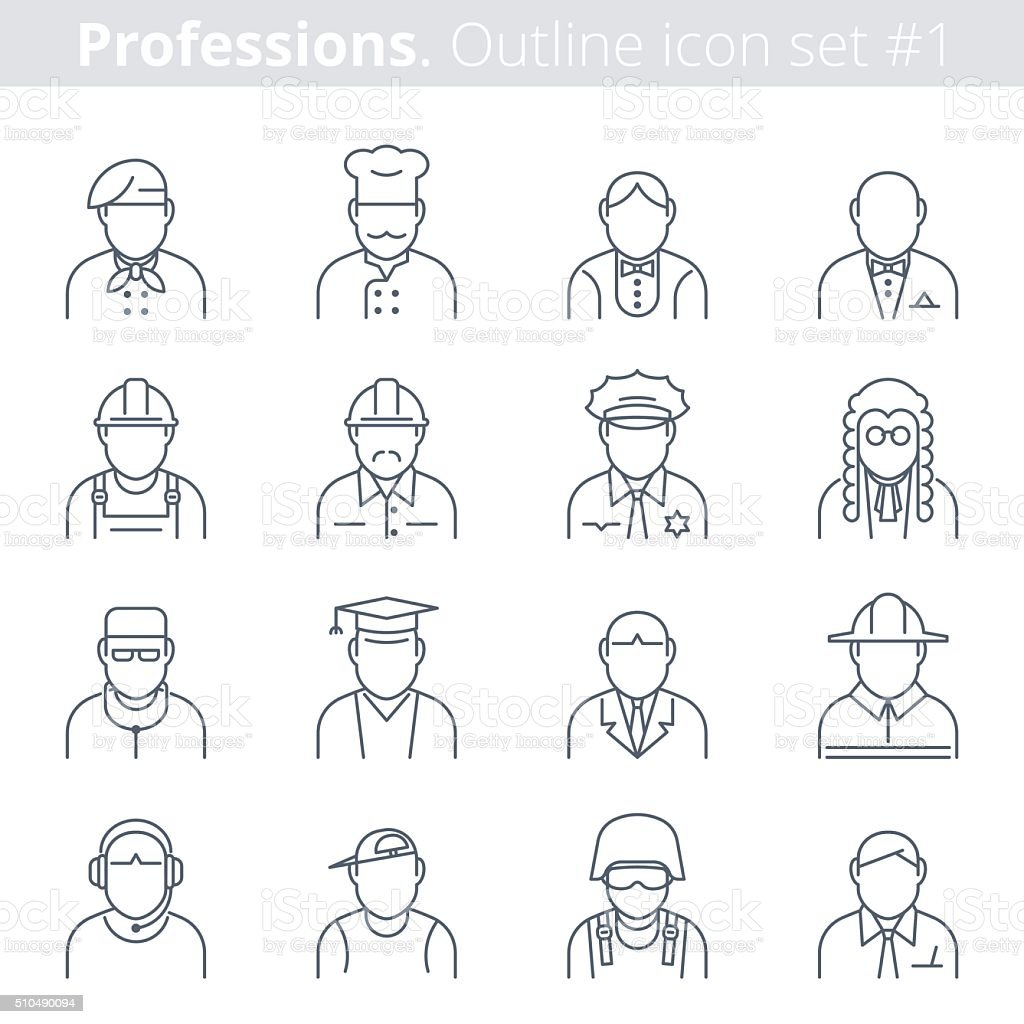 Modern thin line icons set of people avatars. Premium quality outline...