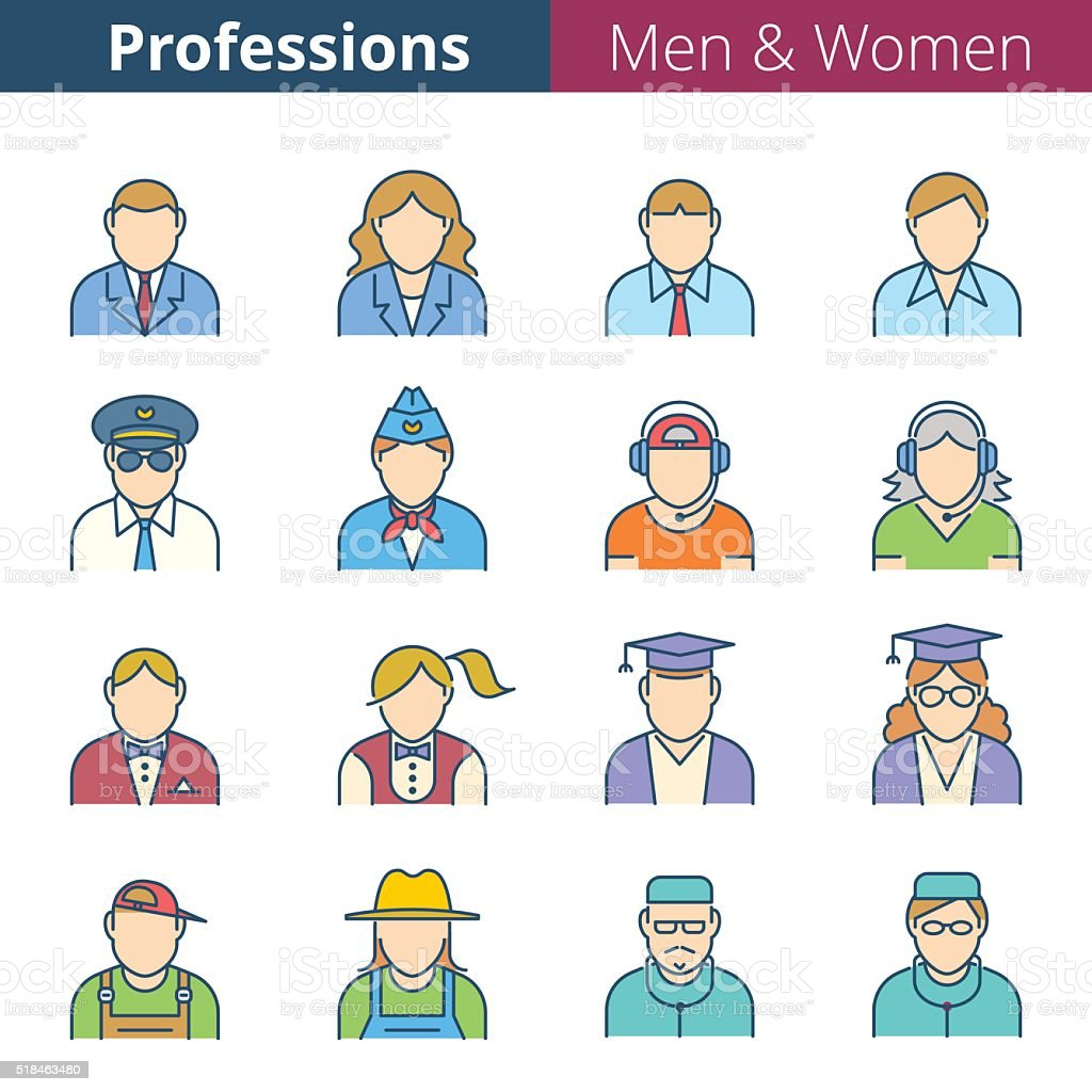 Flat line human avatar icon set. Man and woman professions and...