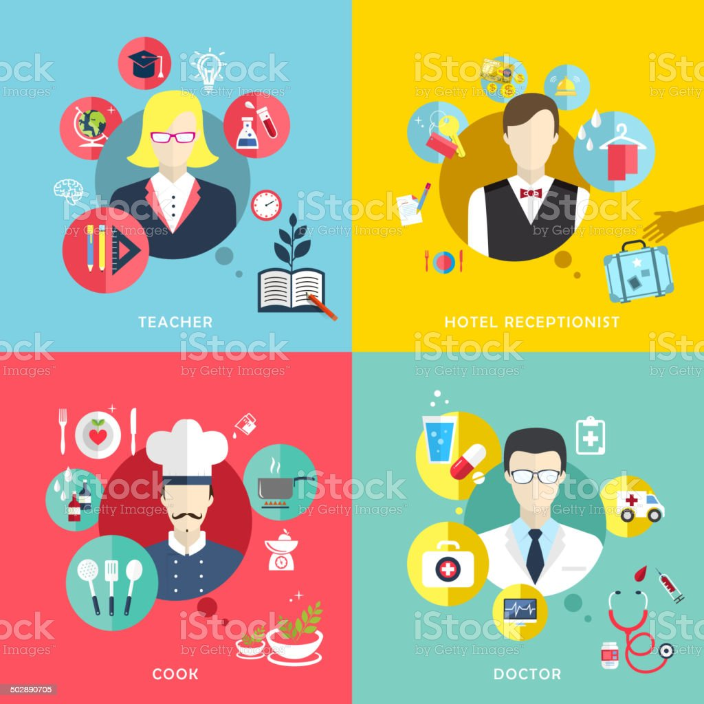 people professions concept icons set in flat design vector art illustration