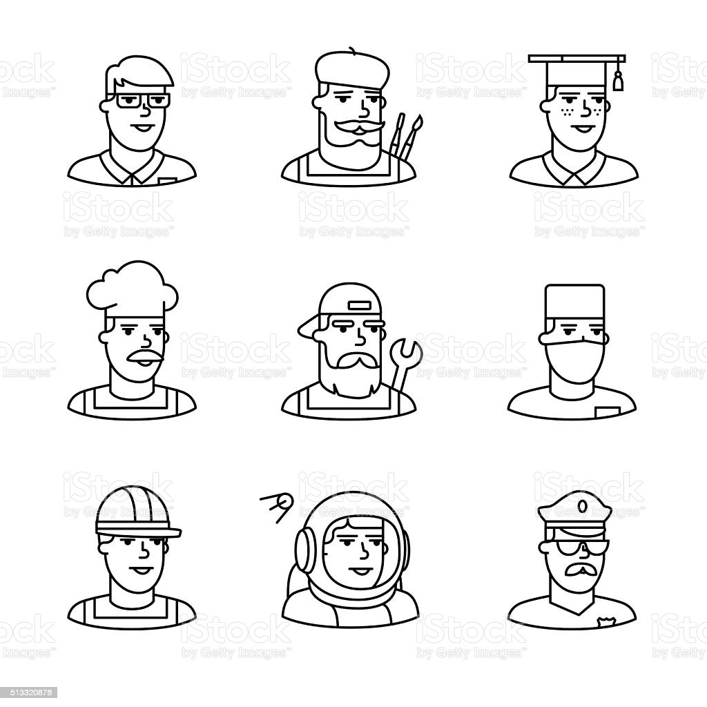 People professions paces icons thin line art set. Hipster characters....