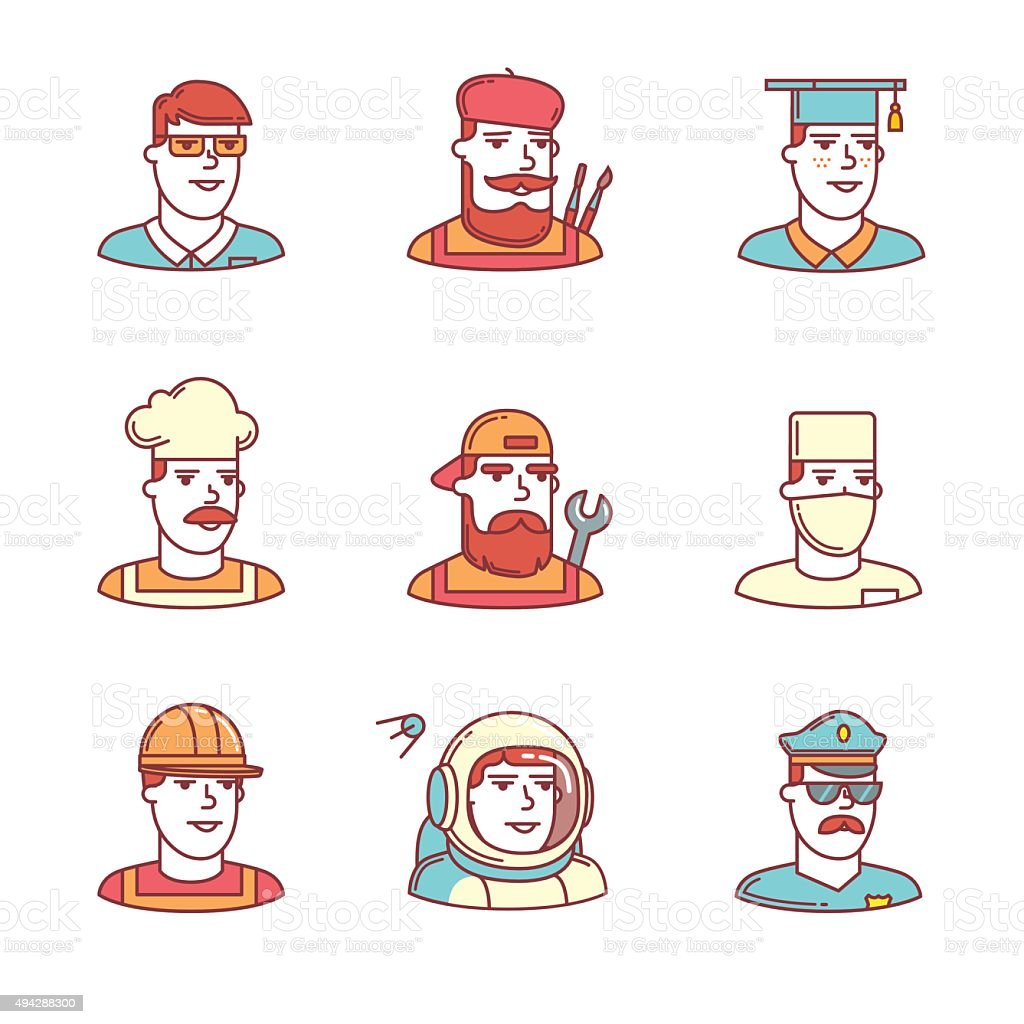 People professions paces icons thin line set. Hipster characters....