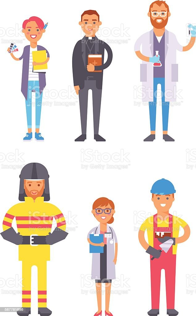 People professions vector set. vector art illustration