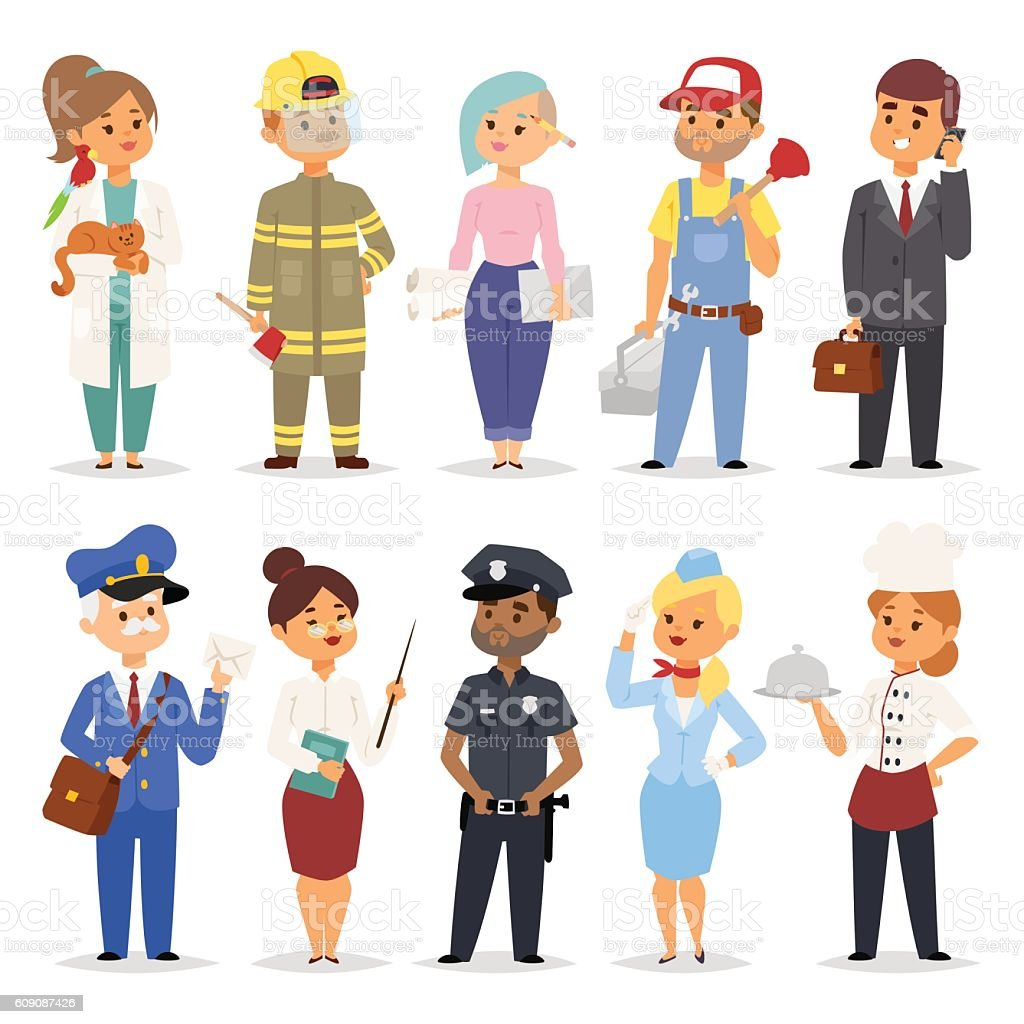 People professions vector set. vector art illustration