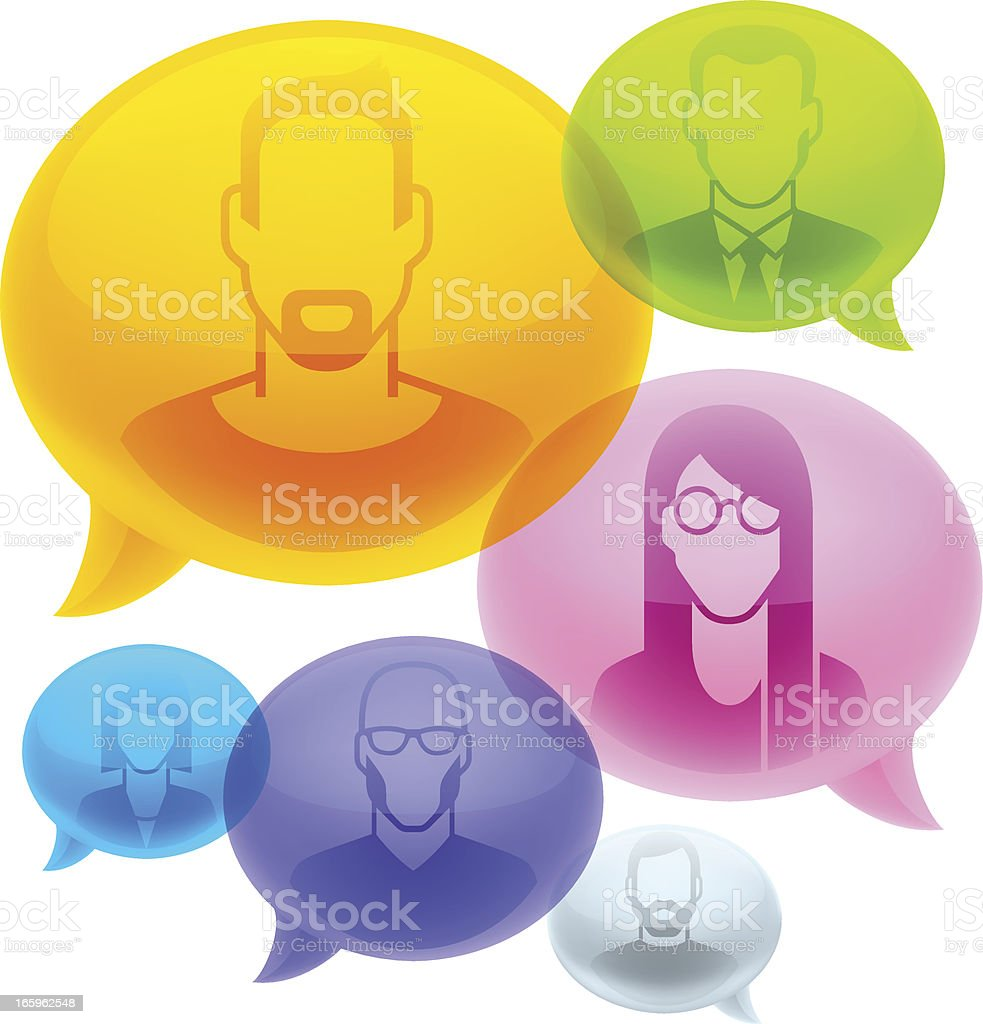 People profile in bubbles royalty-free stock vector art