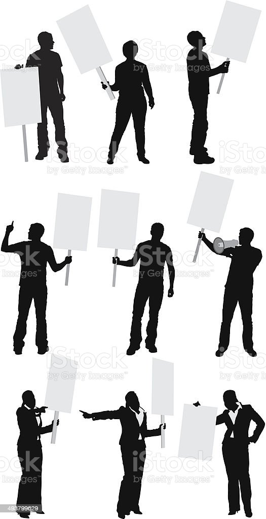 People protesting vector art illustration