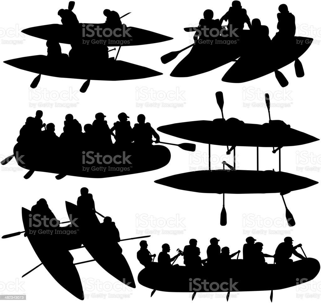 people rafters on boats,  catamaran and kayaks vector art illustration