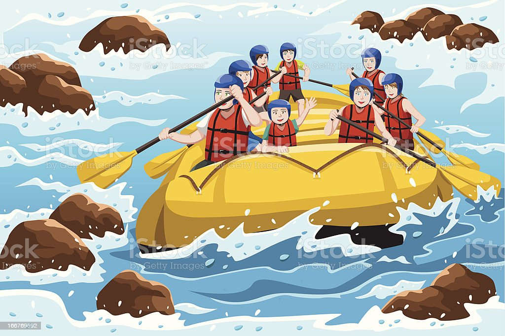People rafting vector art illustration