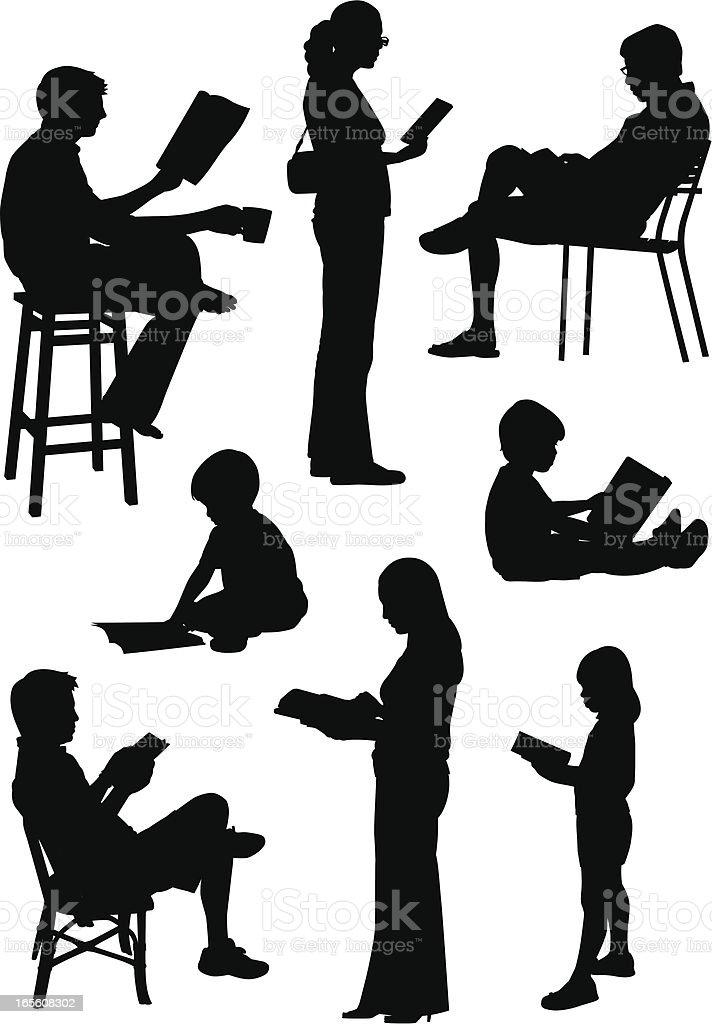 People Reading vector art illustration