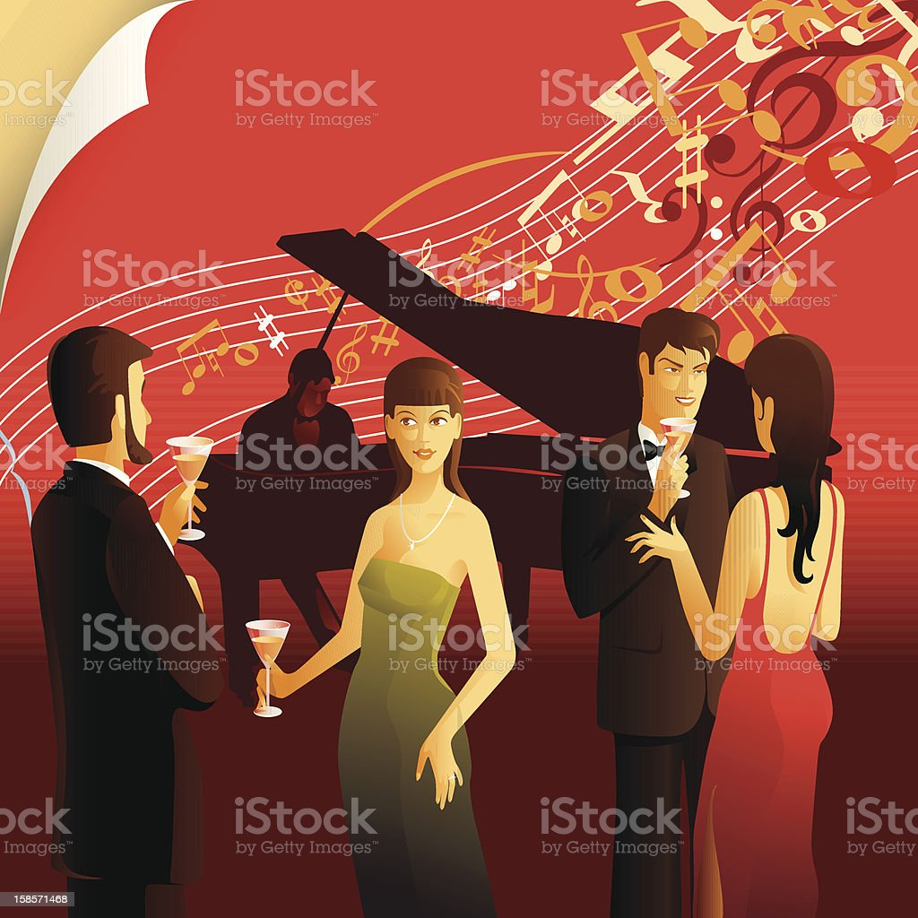 People relax to the sounds of piano royalty-free stock vector art