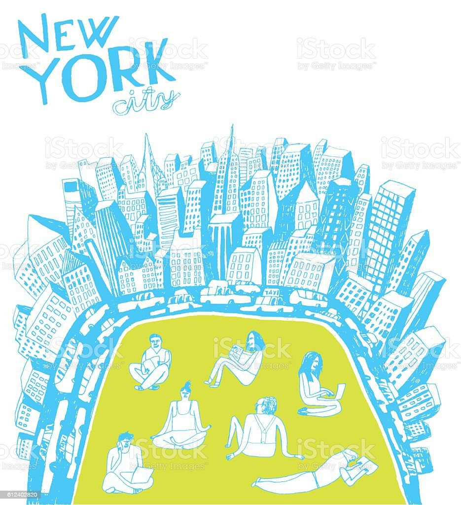 People resting and working in Central Park, New York city vector art illustration
