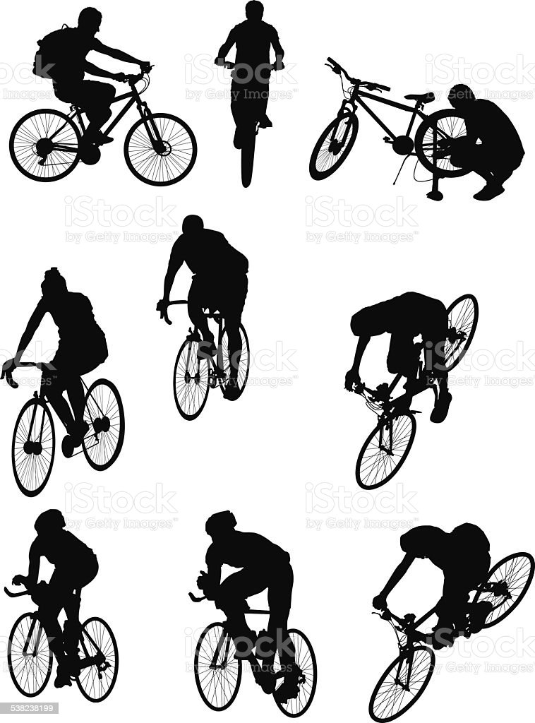 People riding bicycles vector art illustration