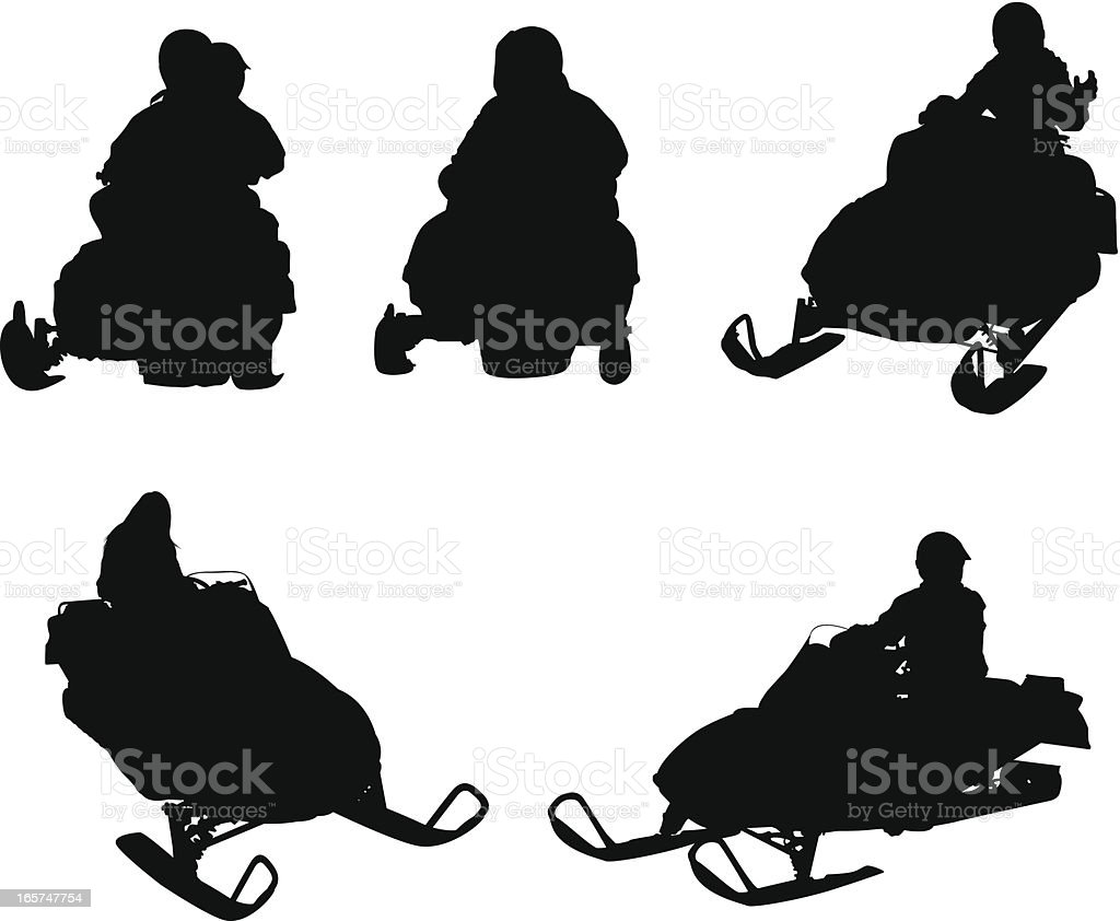 People riding snowmobiles vector art illustration