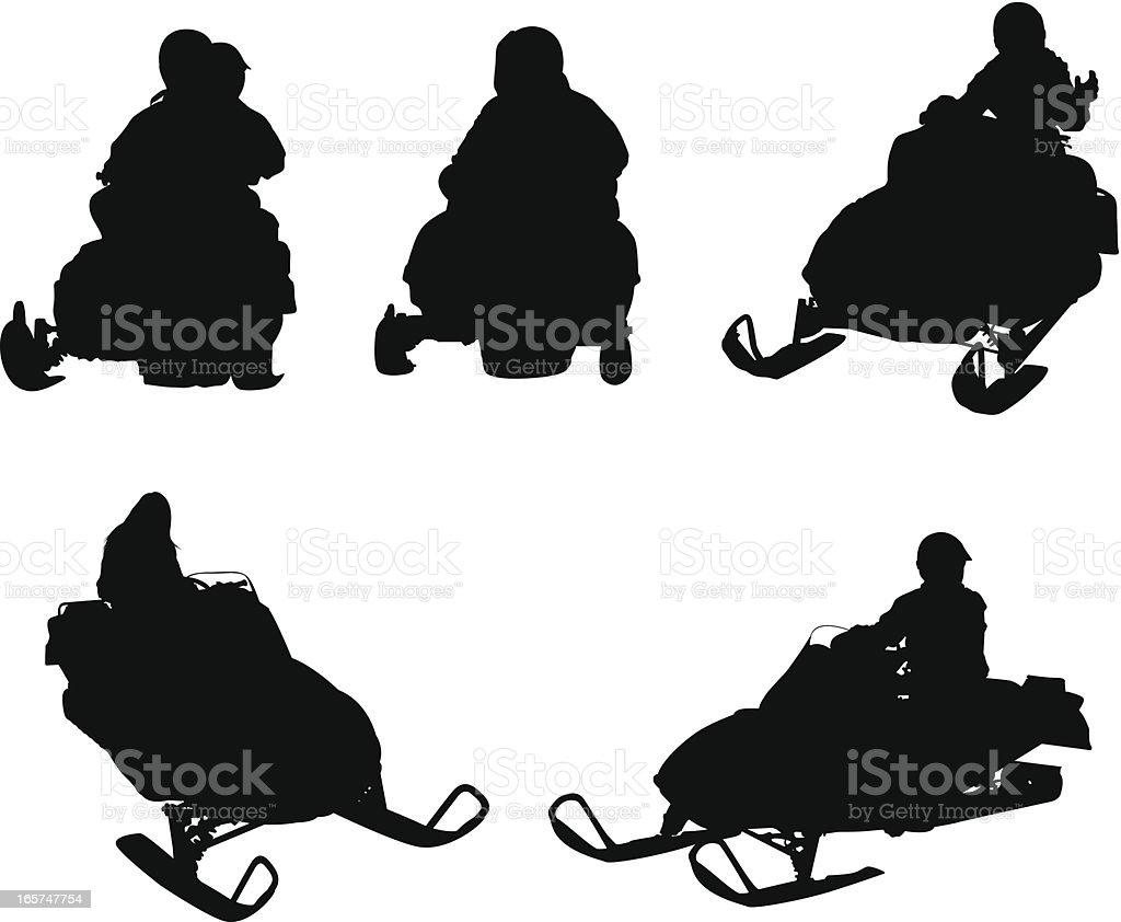 People riding snowmobiles vector art illustration