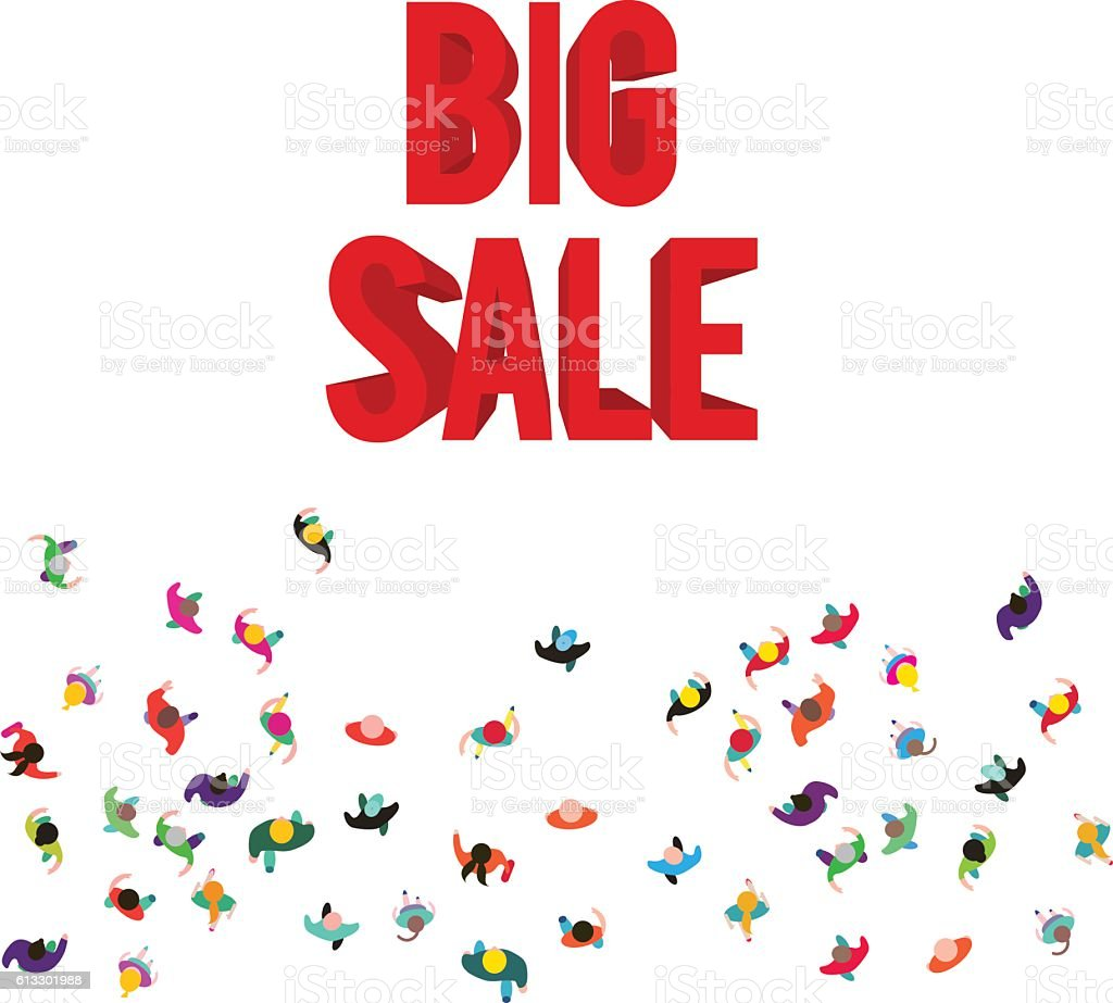 People run to an red 3D big sale vector art illustration