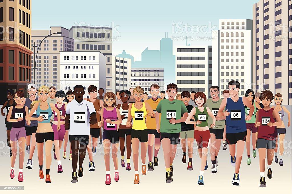People running marathon vector art illustration