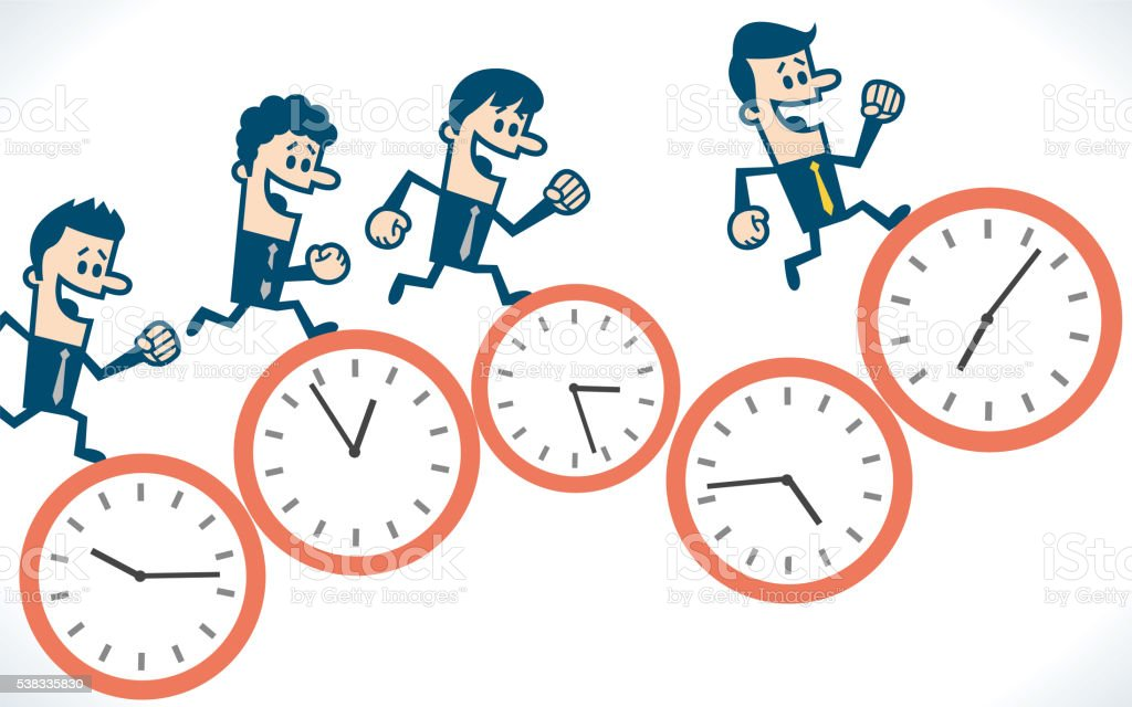 People running on group of clock vector art illustration