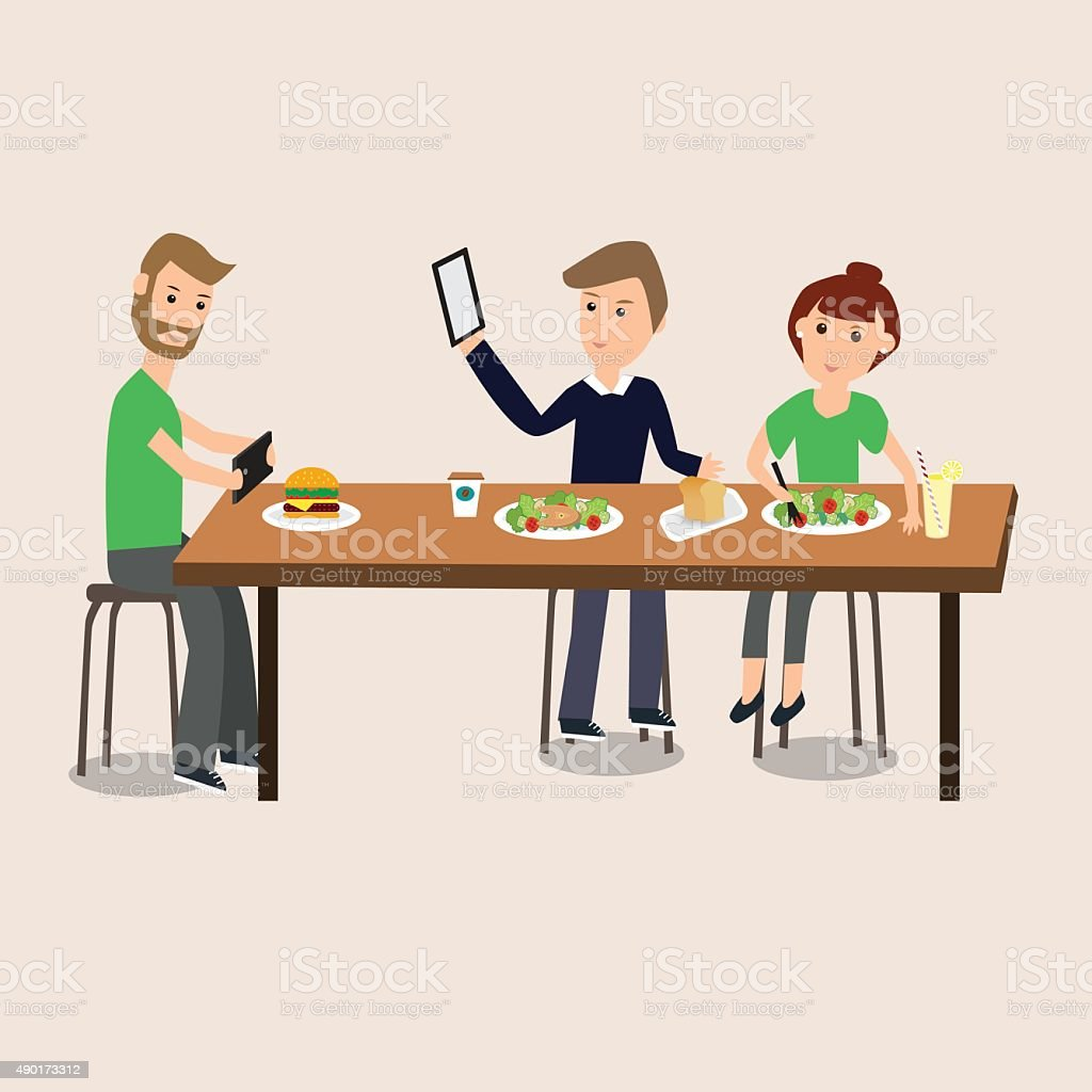 People Selfie with food with smartphone ,tablet  vector. illustration EPS10. vector art illustration