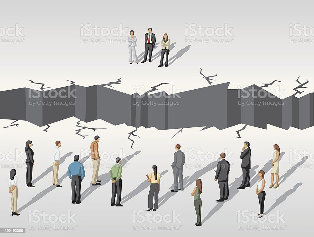 people separated by abyss vector art illustration