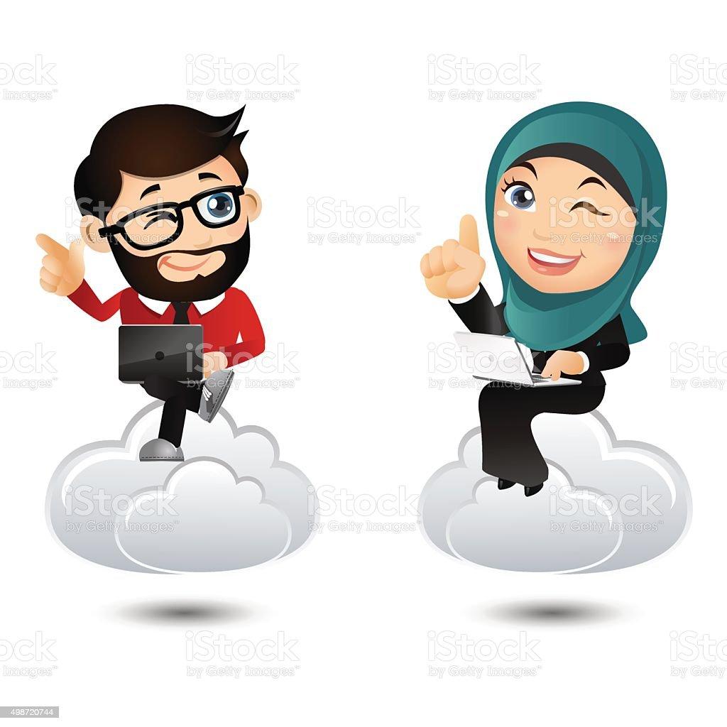 People Set - Arab Businesspeople set vector art illustration