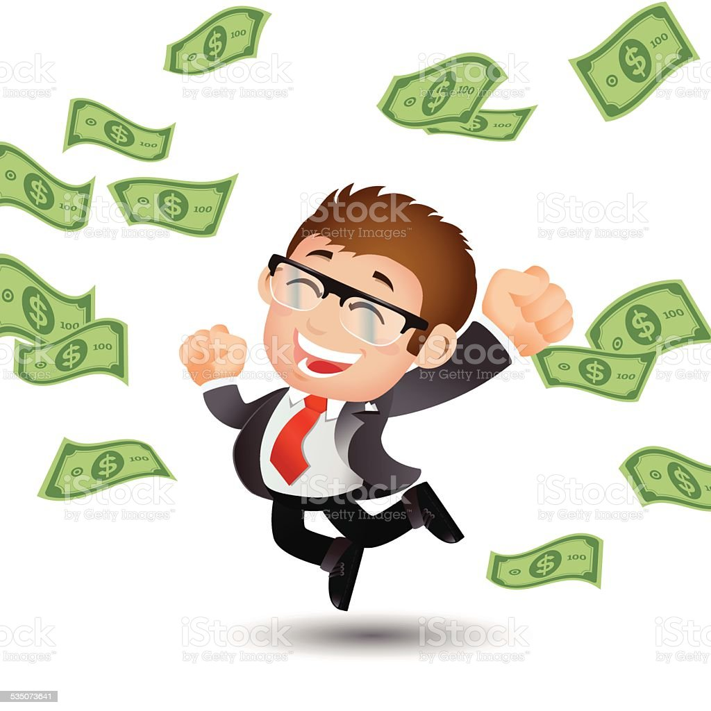 People Set - Business - Businessman on pile of money cash vector art illustration