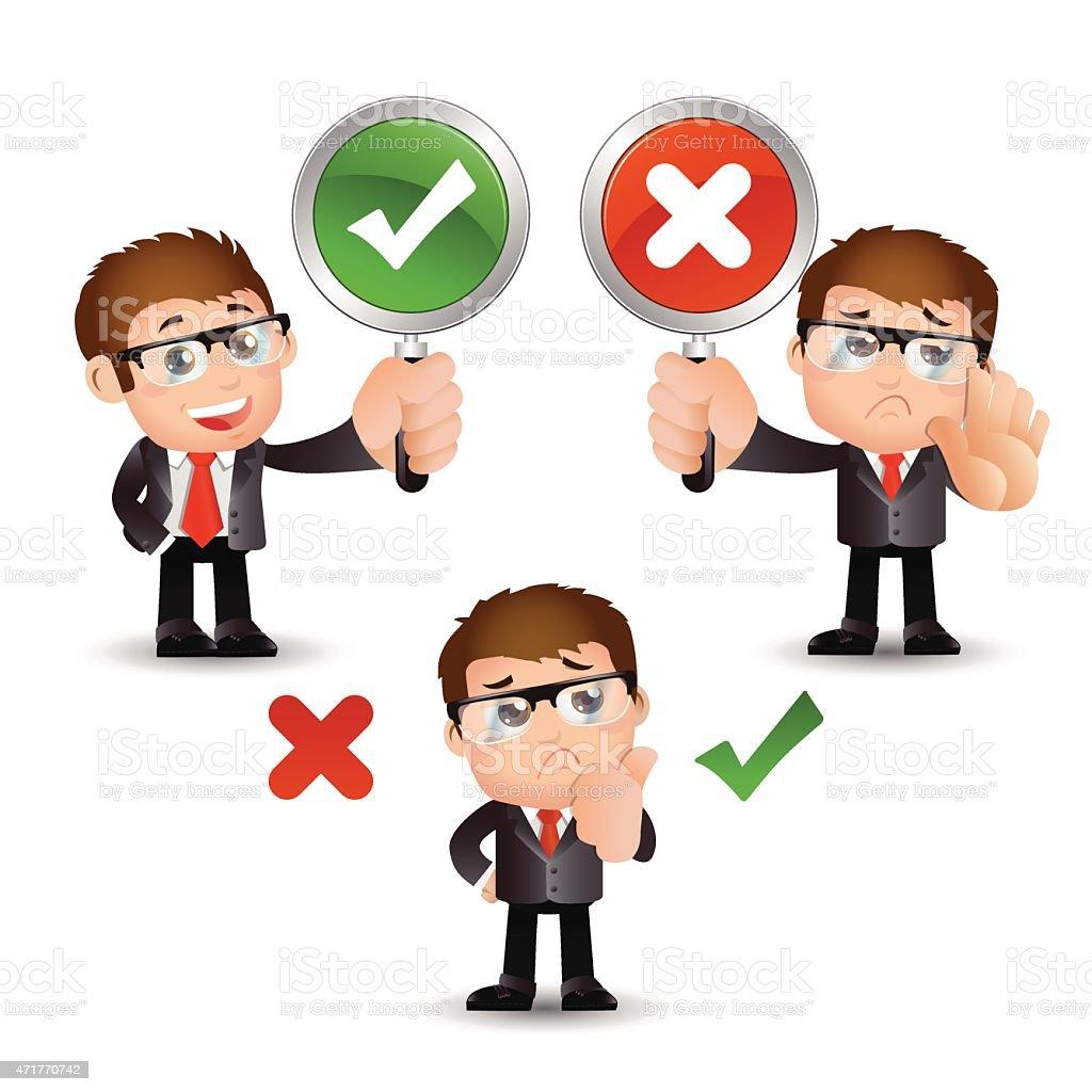 People Set - Business - Businessman. Yes or No sign vector art illustration
