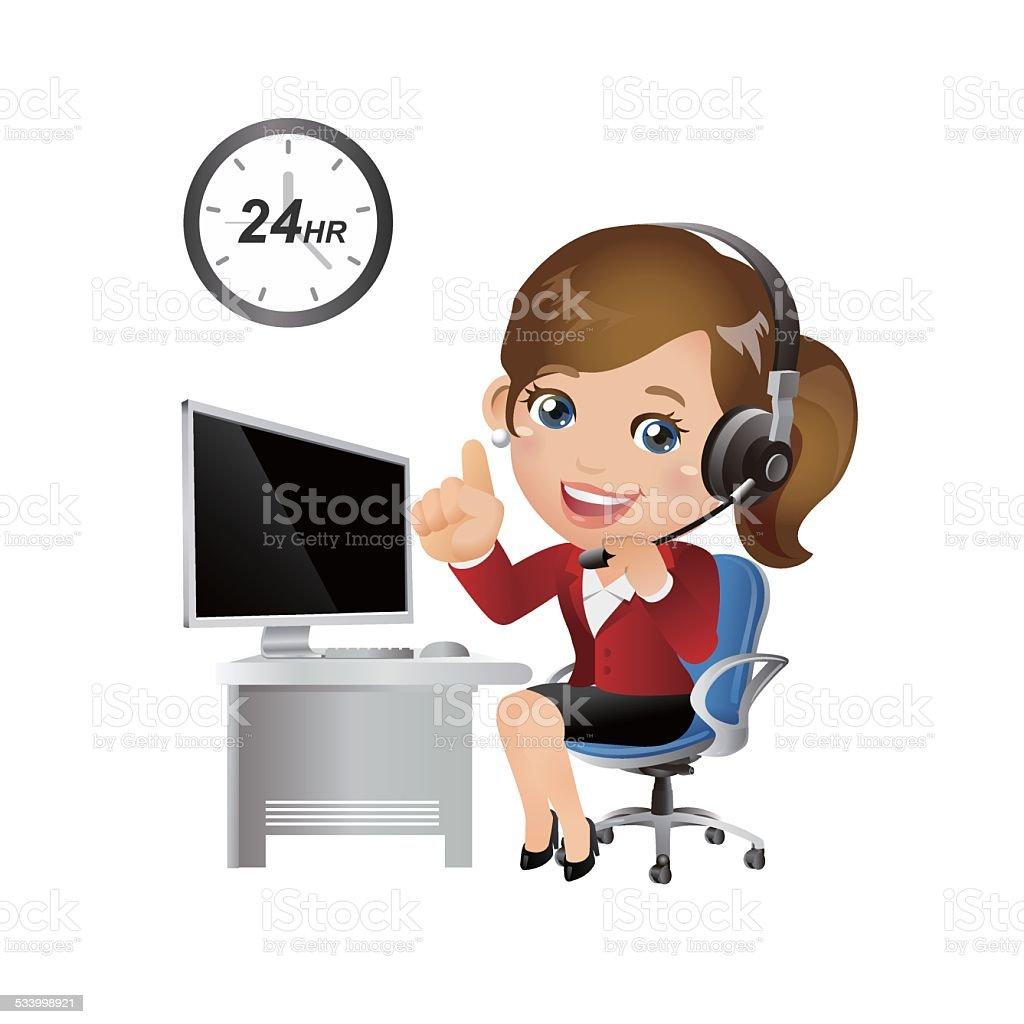 People Set - Business - Businesswomen. Customer support with headphones vector art illustration