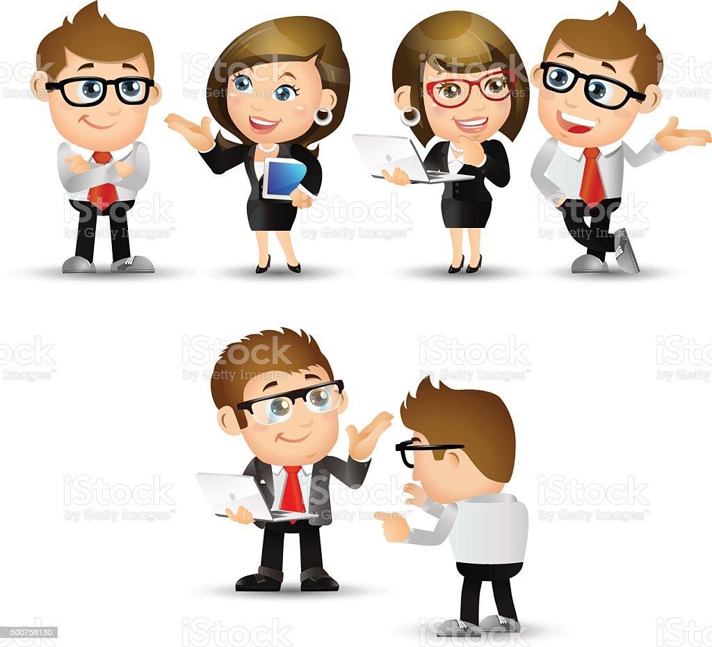 People Set - Business - Discuss vector art illustration