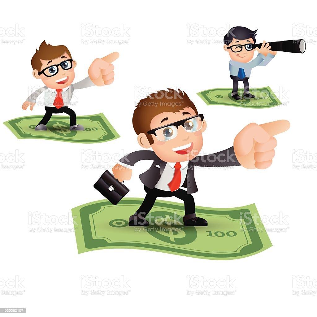 People Set - Business - Money flying. Businessman vector art illustration