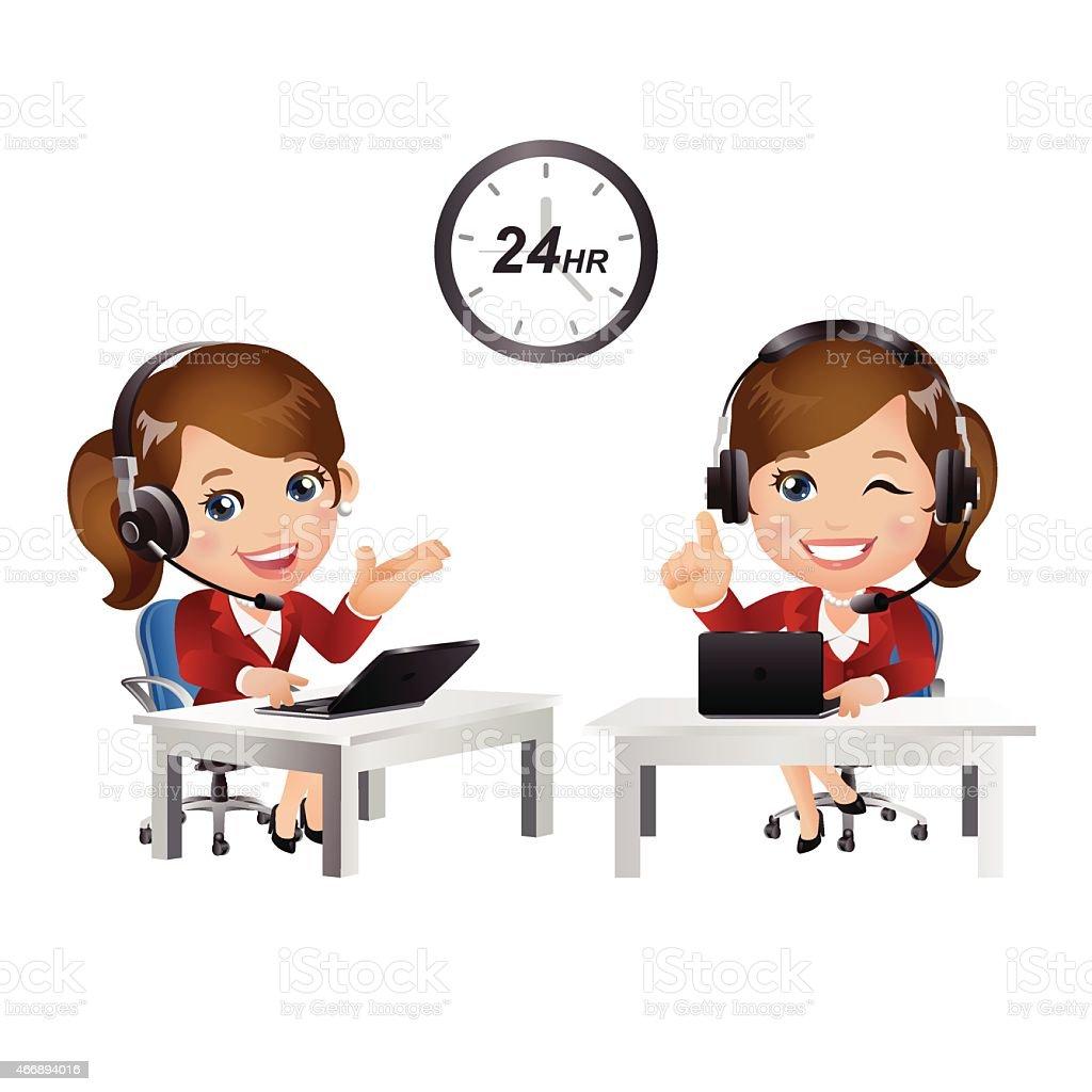 People Set - Business - Women. Customer support with headphones vector art illustration