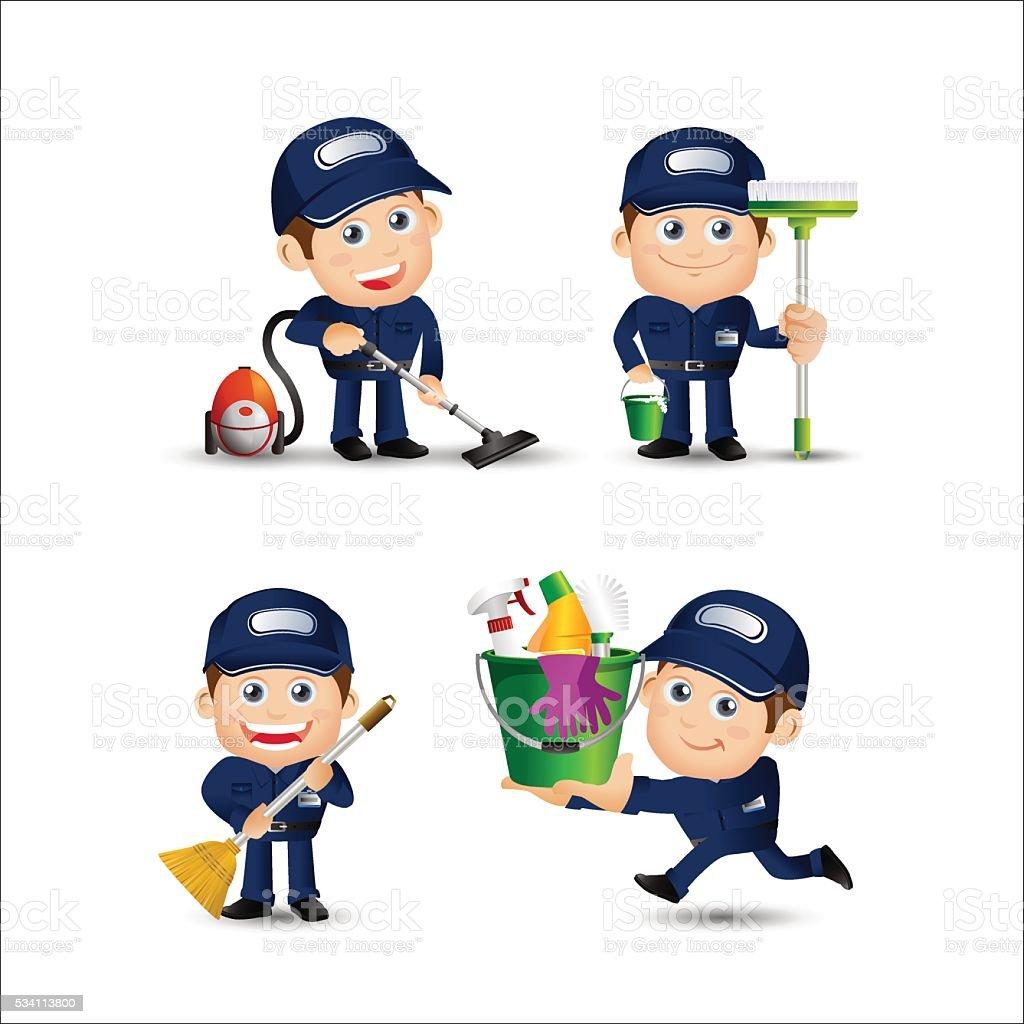 People Set - Profession - Cleaner vector art illustration
