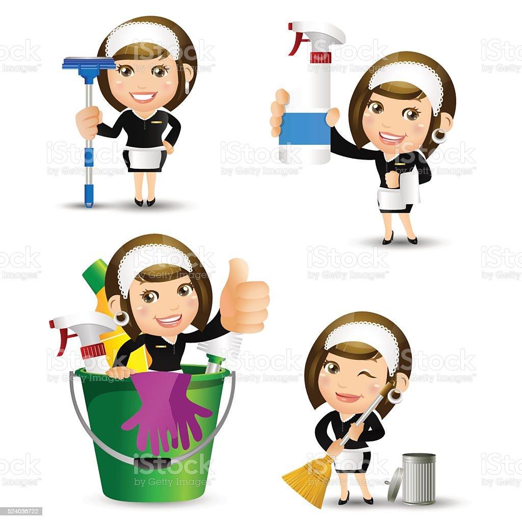 People Set - Profession - Housekeeper vector art illustration