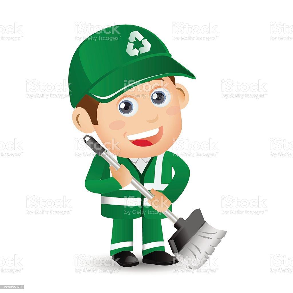 People Set - Profession - Street Cleaner vector art illustration