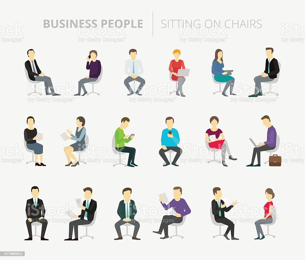 People set work sitting on chairs vector art illustration