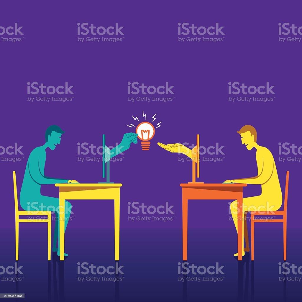 people share idea design concept vector art illustration