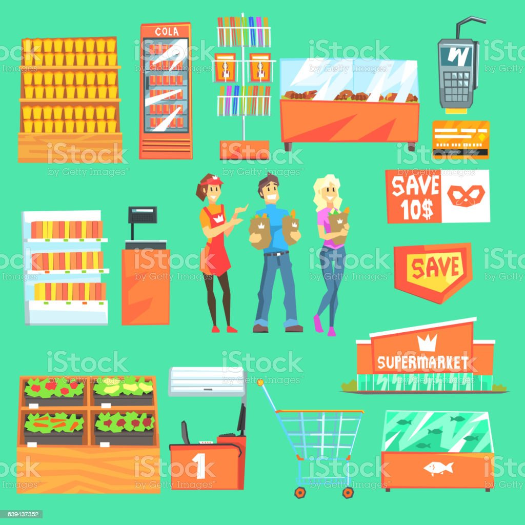 People Shopping For Groceries In Supermarket Surrounded vector art illustration