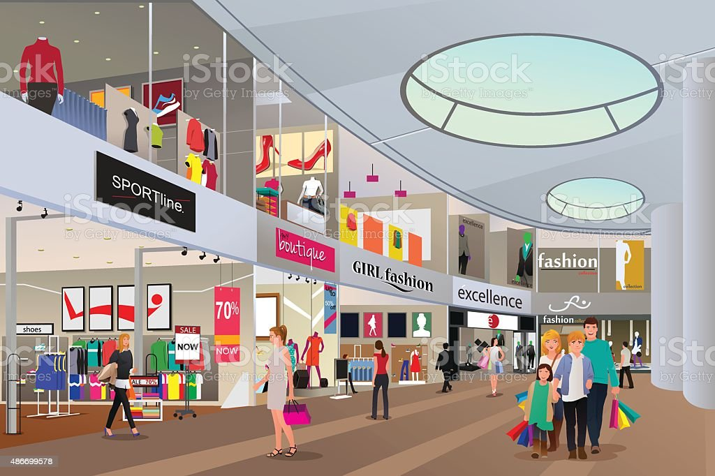 People  shopping in a mall vector art illustration