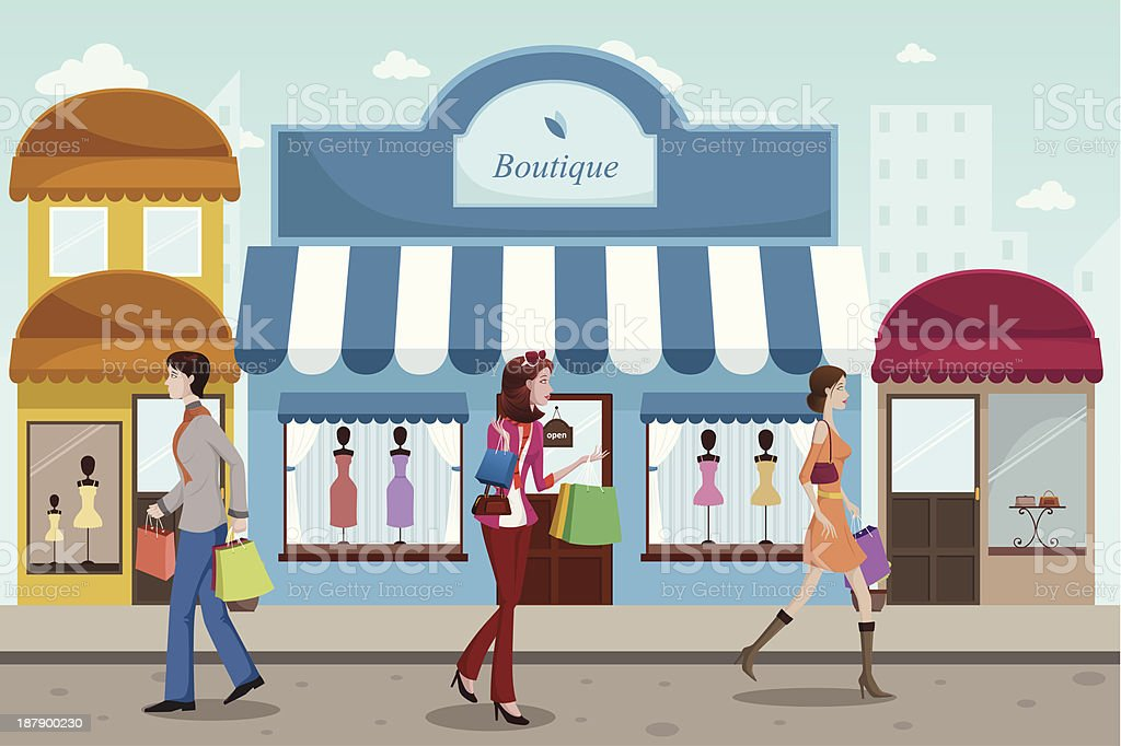People shopping in an outdoor mall with French boutique style royalty-free stock vector art