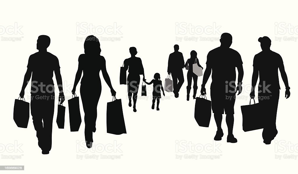 People Shopping Vector Silhouette royalty-free stock vector art