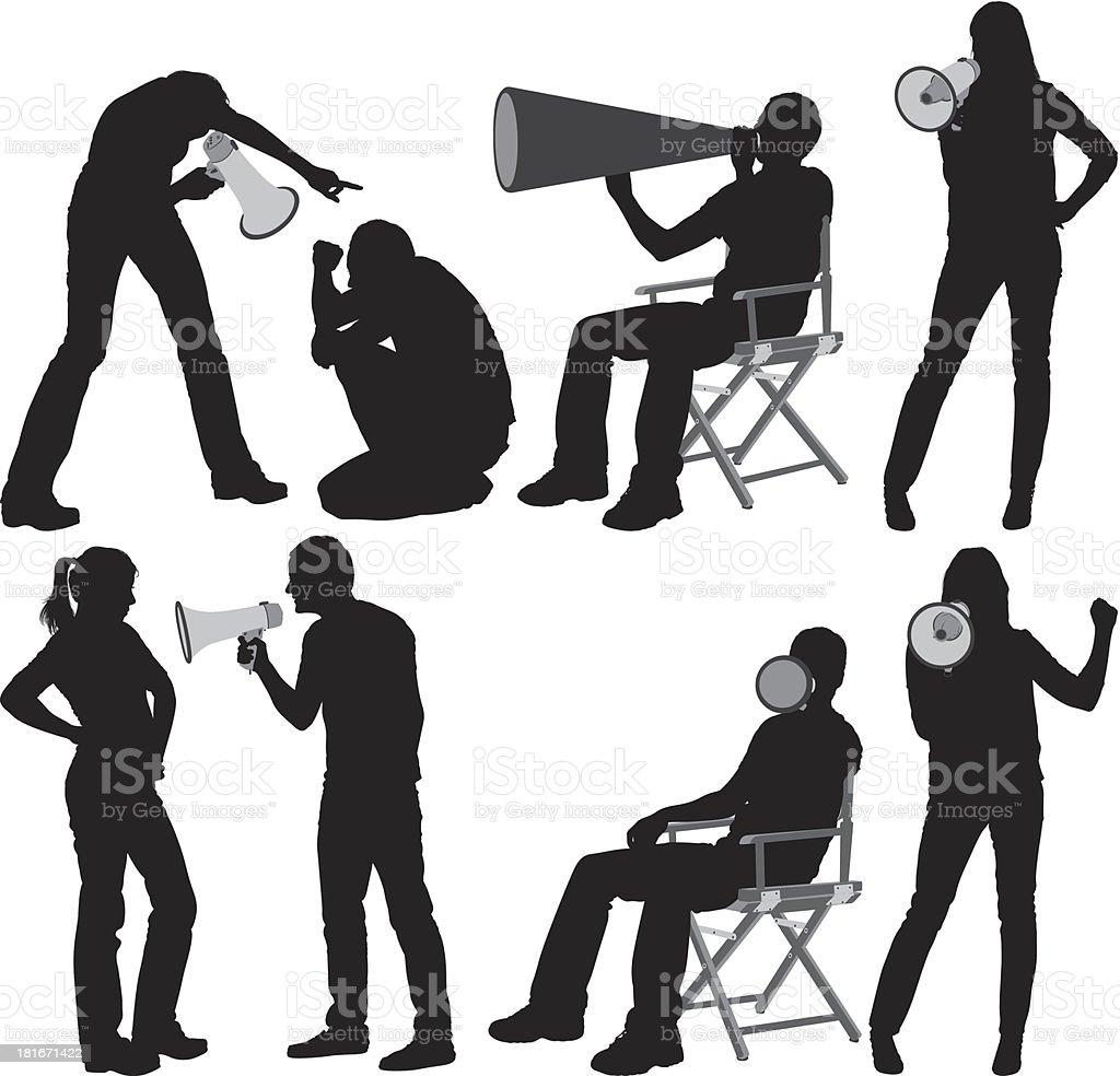 People shouting on megaphone royalty-free stock vector art