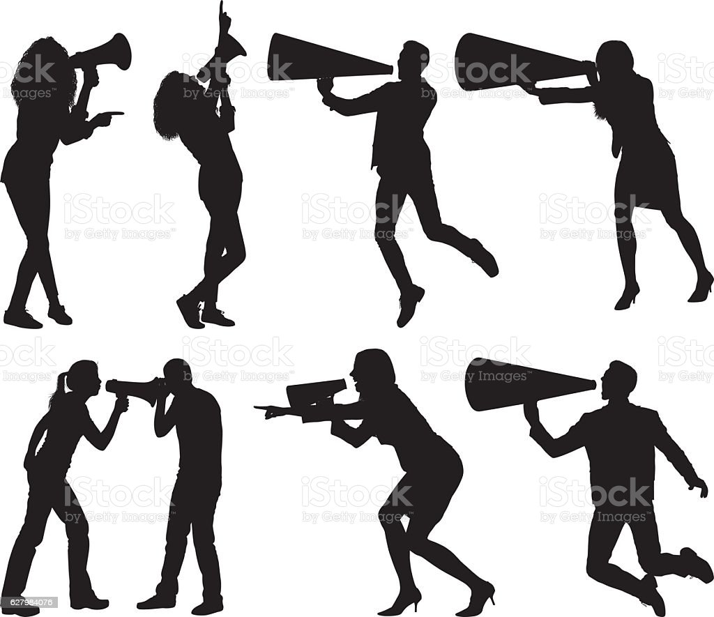 People shouting with megaphone vector art illustration