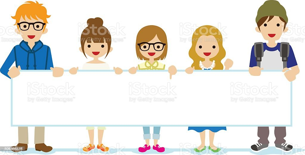 People Showing Panel - Student vector art illustration