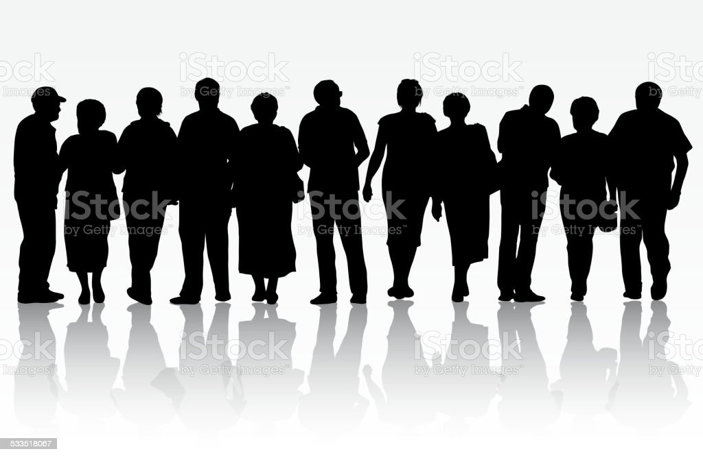 People silhouettes vector art illustration