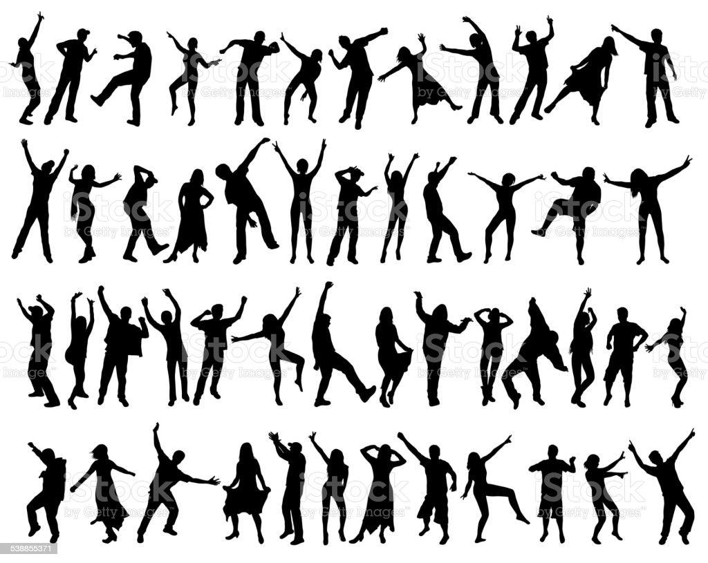 People silhouettes vector art illustration