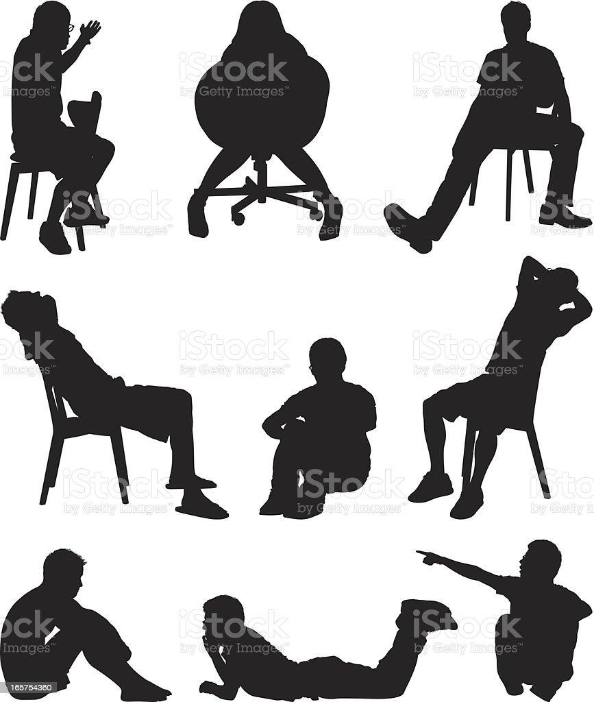 People sitting around vector art illustration
