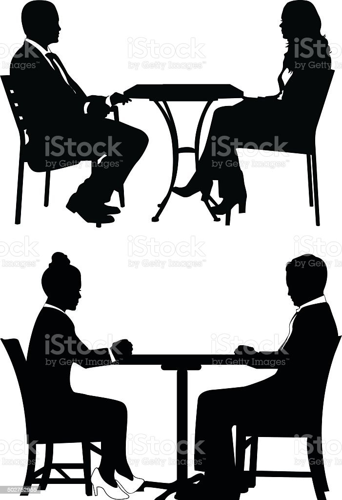 People sitting at table and talking.Vector illustration vector art illustration