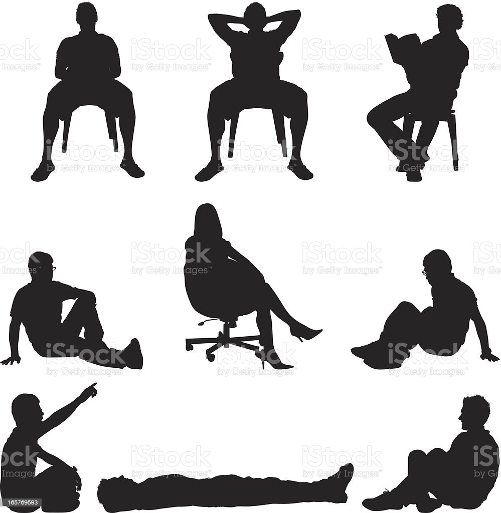 People sitting in chairs and on the floor vector art illustration