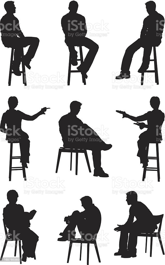 People sitting on chairs and stools vector art illustration