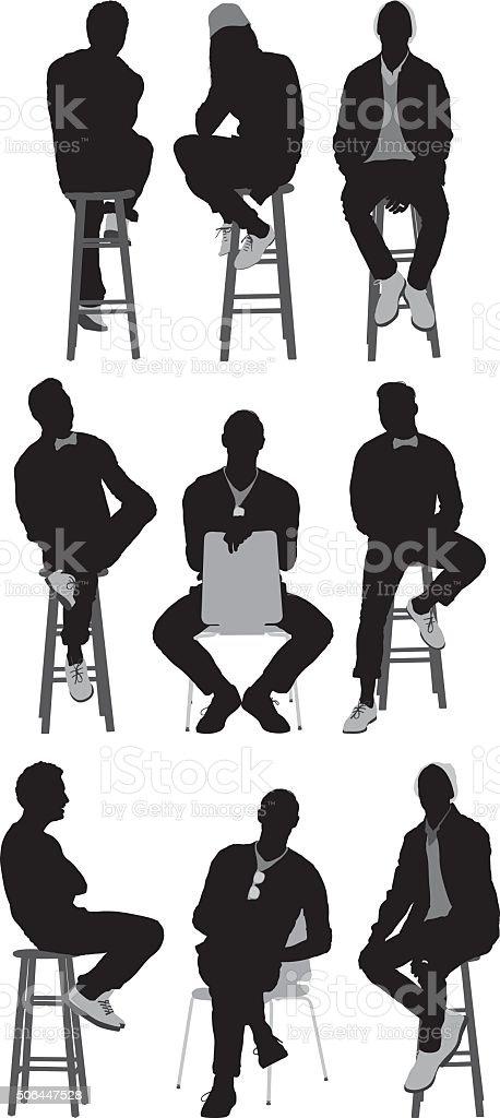 People sitting on stool vector art illustration